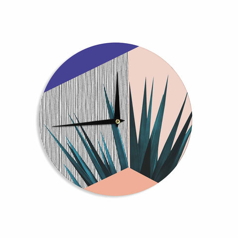 "Cafelab ""Summer Geometry "" Blue Coral Wall Clock - KESS InHouse"