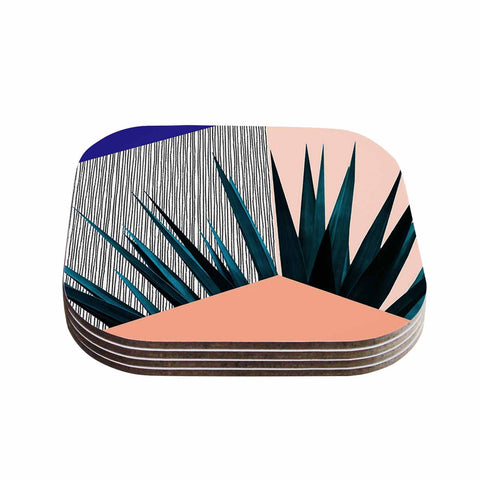 "Cafelab ""Summer Geometry "" Blue Coral Coasters (Set of 4)"