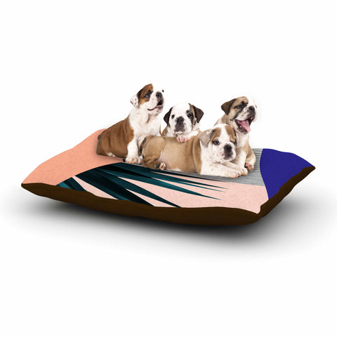"Cafelab ""Summer Geometry "" Blue Coral Dog Bed - KESS InHouse  - 1"