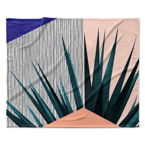 "Cafelab ""Summer Geometry "" Blue Coral Fleece Throw Blanket"