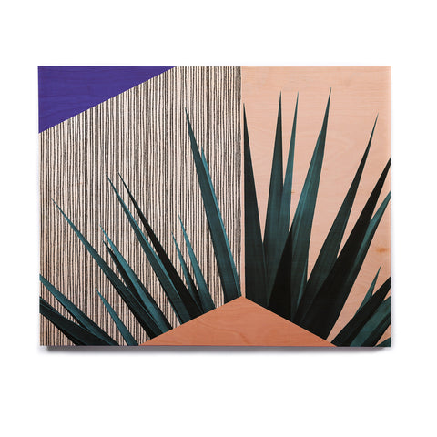 "Cafelab ""Summer Geometry "" Blue Coral Birchwood Wall Art - KESS InHouse  - 1"