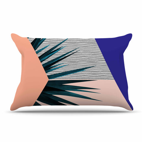 "Cafelab ""Summer Geometry "" Blue Coral Pillow Sham - KESS InHouse  - 1"