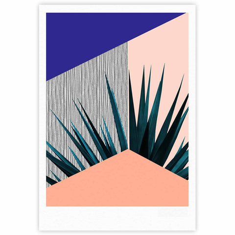 "Cafelab ""Summer Geometry "" Blue Coral Fine Art Gallery Print - KESS InHouse"