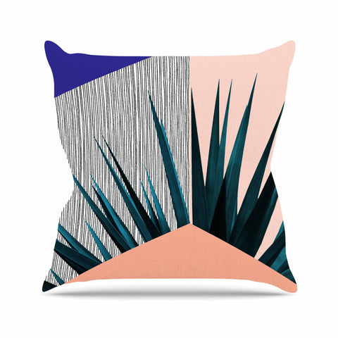 "Cafelab ""Summer Geometry "" Blue Coral Outdoor Throw Pillow - KESS InHouse  - 1"