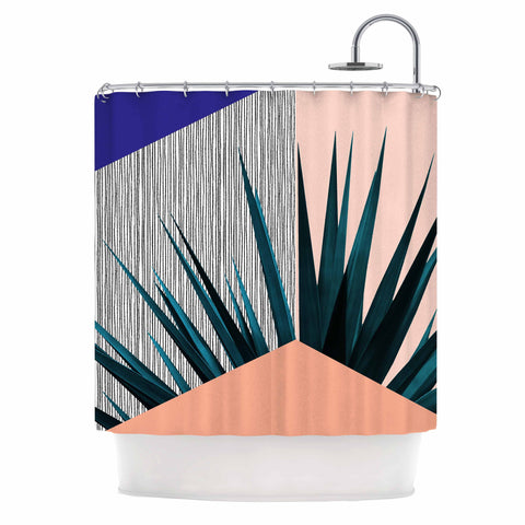 "Cafelab ""Summer Geometry "" Blue Coral Shower Curtain - KESS InHouse"