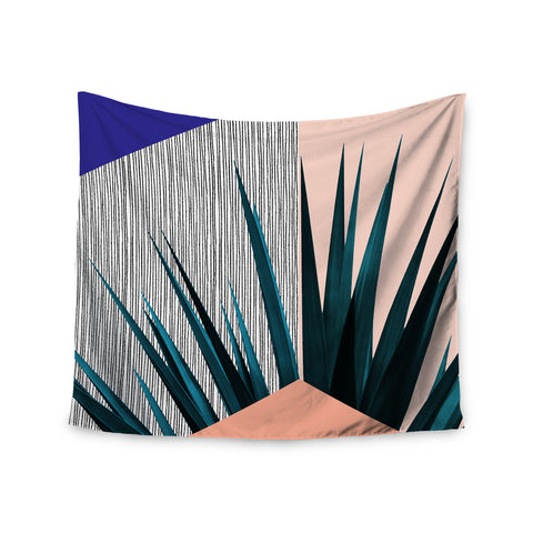 "Cafelab ""Summer Geometry "" Blue Coral Wall Tapestry - KESS InHouse  - 1"