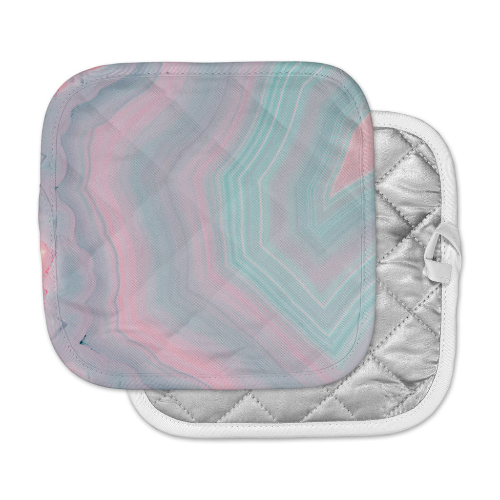 "Cafelab ""Sweet Pastel Agate"" Pink Blue Pot Holder"