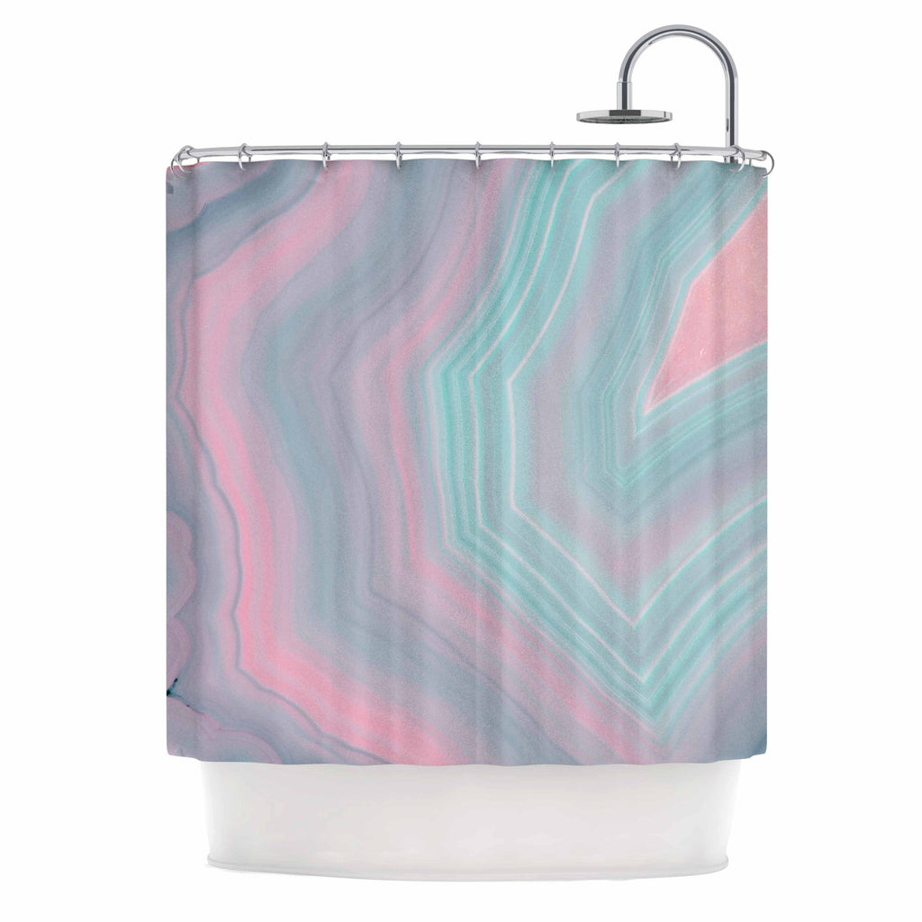 Cafelab Sweet Pastel Agate Pink Blue Shower Curtain