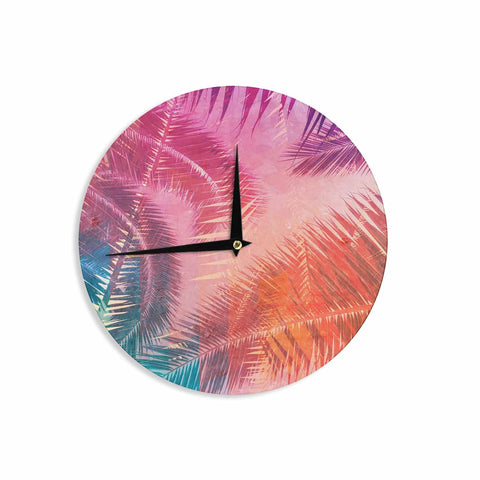 "Cafelab ""Pop Tropical"" Purple Pink Abstract Wall Clock - KESS InHouse"