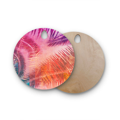 "Cafelab ""Pop Tropical"" Purple Pink Abstract Round Wooden Cutting Board"