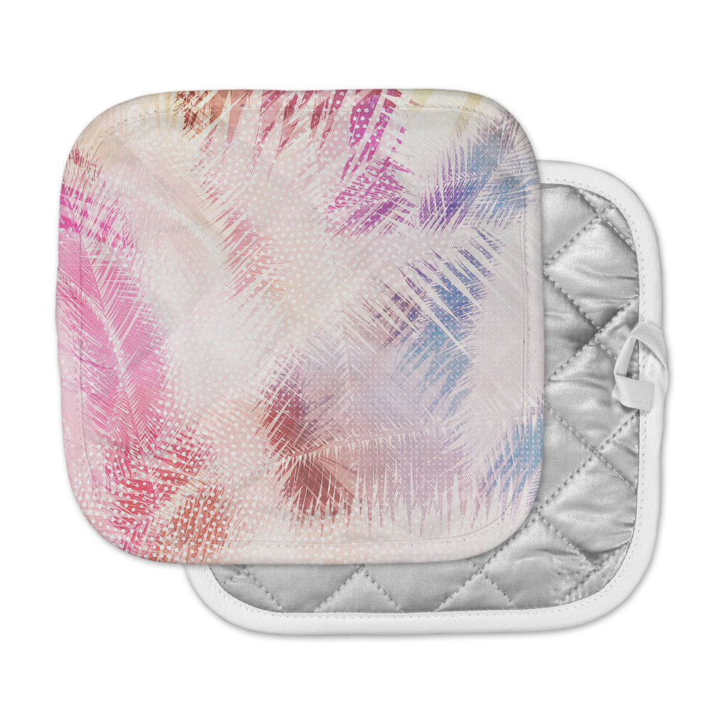 "Cafelab ""Sweet Tropical"" White Pink Abstract Pot Holder"