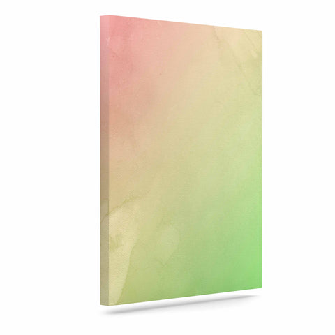 "Cafelab ""Greenery And Pink"" Green Pink Watercolor Canvas Art"