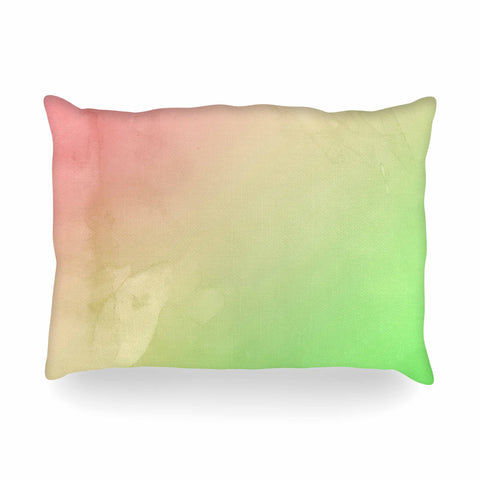 "Cafelab ""Greenery And Pink"" Green Pink Watercolor Oblong Pillow"