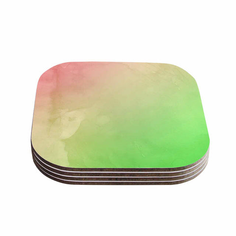 "Cafelab ""Greenery And Pink"" Green Pink Watercolor Coasters (Set of 4)"