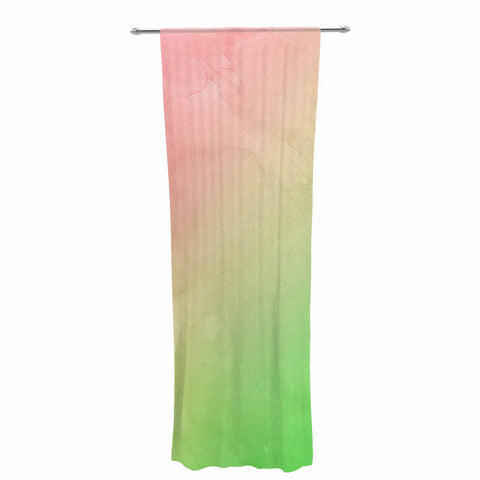 "Cafelab ""Greenery And Pink"" Green Pink Watercolor Decorative Sheer Curtain"