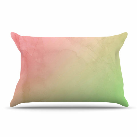 "Cafelab ""Greenery And Pink"" Green Pink Watercolor Pillow Sham"