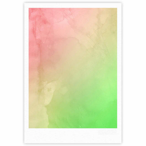 "Cafelab ""Greenery And Pink"" Green Pink Watercolor Fine Art Gallery Print"