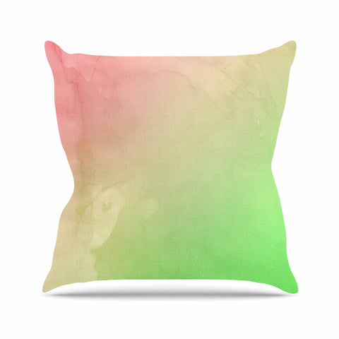 "Cafelab ""Greenery And Pink"" Green Pink Watercolor Outdoor Throw Pillow"
