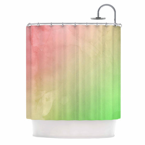 "Cafelab ""Greenery And Pink"" Green Pink Watercolor Shower Curtain"