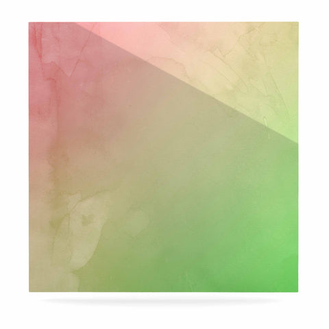 "Cafelab ""Greenery And Pink"" Green Pink Watercolor Luxe Square Panel"