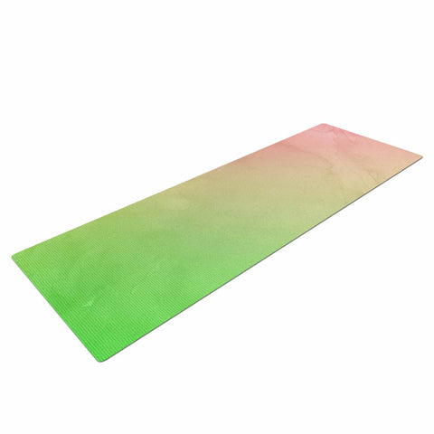 "Cafelab ""Greenery And Pink"" Green Pink Watercolor Yoga Mat"