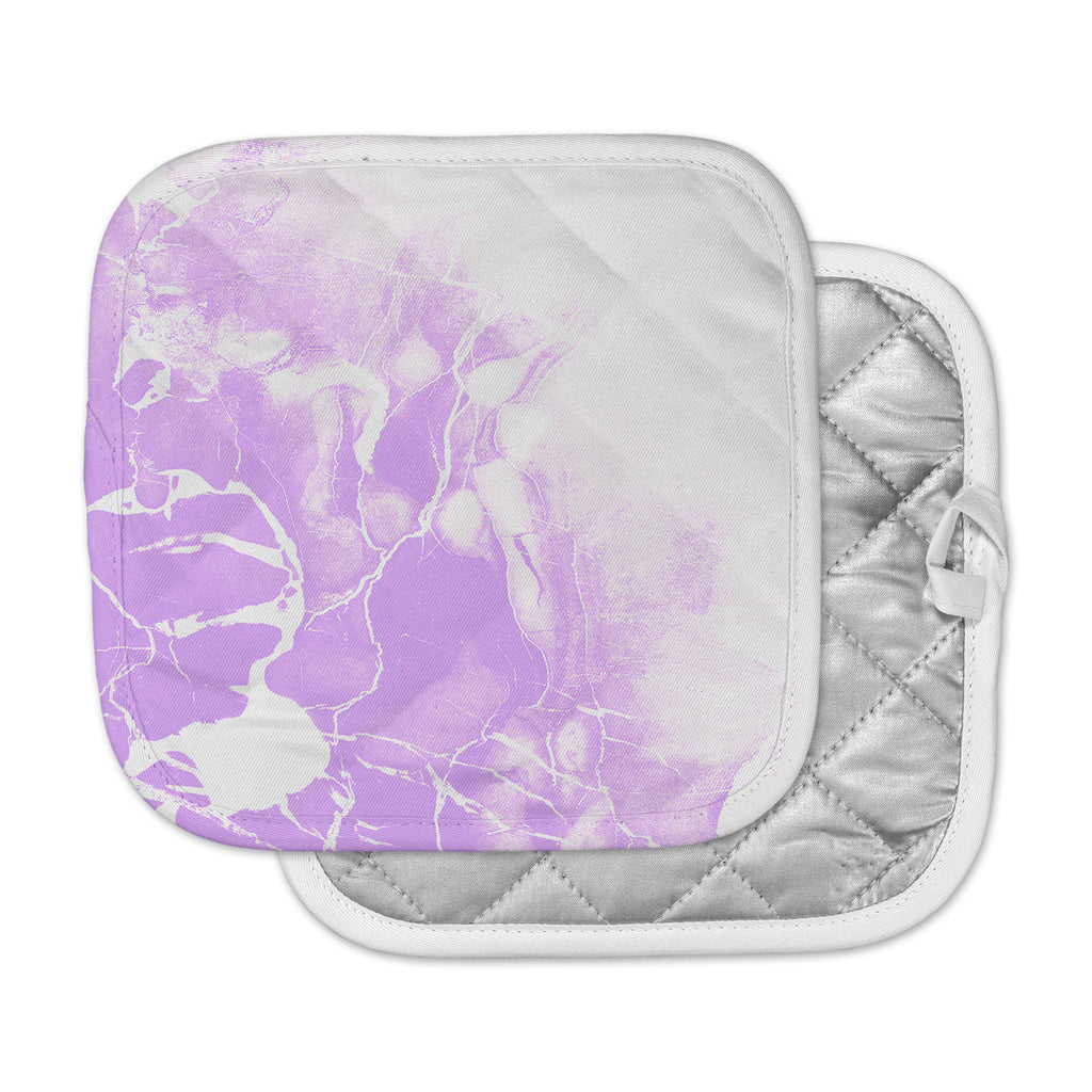 "Cafelab ""Purple Marble With White"" Purple White Illustration Pot Holder"