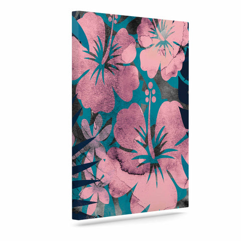 "Cafelab ""Tropical Style"" Green Pink Illustration Canvas Art"