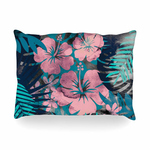 "Cafelab ""Tropical Style"" Green Pink Illustration Oblong Pillow"