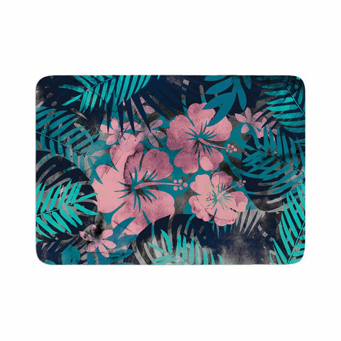 "Cafelab ""Tropical Style"" Green Pink Illustration Memory Foam Bath Mat"