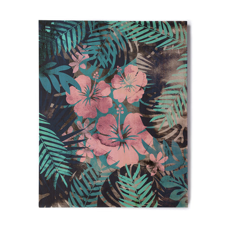 "Cafelab ""Tropical Style"" Green Pink Illustration Birchwood Wall Art"