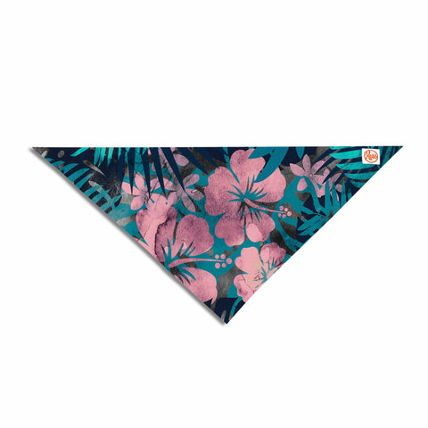"Cafelab ""Tropical Style"" Green Pink Illustration Pet Bandana"