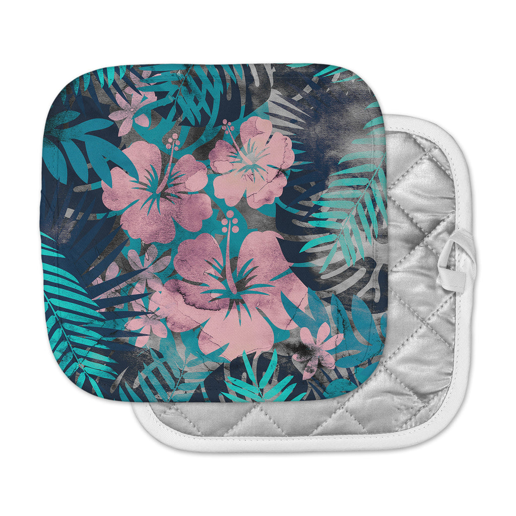 "Cafelab ""Tropical Style"" Green Pink Illustration Pot Holder"