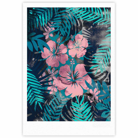 "Cafelab ""Tropical Style"" Green Pink Illustration Fine Art Gallery Print"