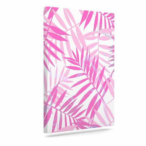 "Cafelab ""Pastel Palm Leaves"" Pink Purple Illustration Canvas Art"