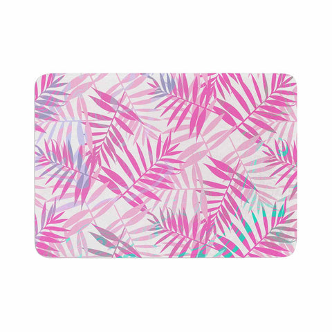 "Cafelab ""Pastel Palm Leaves"" Pink Purple Illustration Memory Foam Bath Mat"