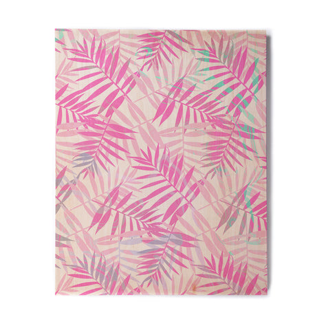 "Cafelab ""Pastel Palm Leaves"" Pink Purple Illustration Birchwood Wall Art"