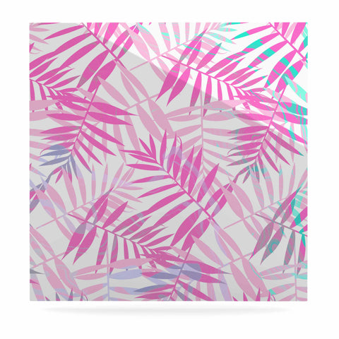 "Cafelab ""Pastel Palm Leaves"" Pink Purple Illustration Luxe Square Panel"