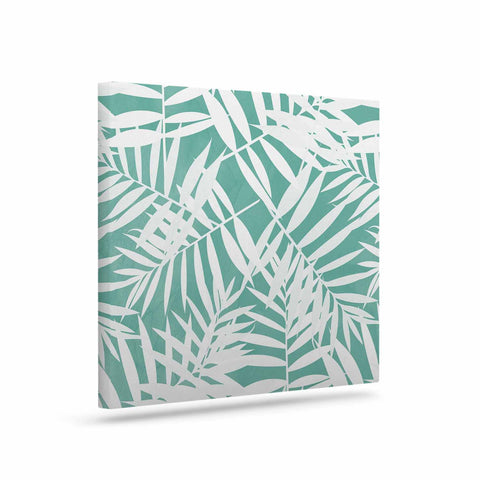 "Cafelab ""Water Tropicana Theme"" Teal White Illustration Canvas Art"