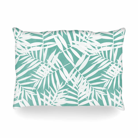 "Cafelab ""Water Tropicana Theme"" Teal White Illustration Oblong Pillow"