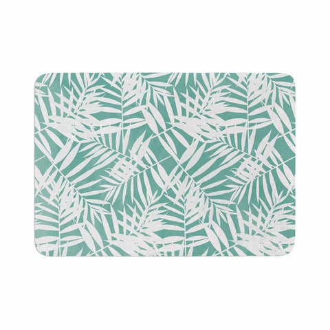 "Cafelab ""Water Tropicana Theme"" Teal White Illustration Memory Foam Bath Mat"