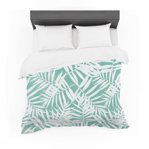 "Cafelab ""Water Tropicana Theme"" Teal White Illustration Featherweight Duvet Cover"