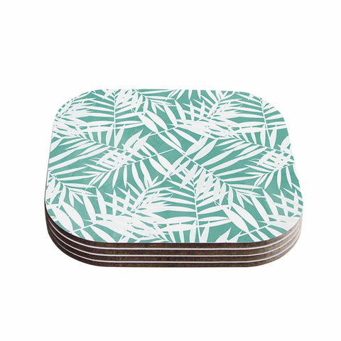 "Cafelab ""Water Tropicana Theme"" Teal White Illustration Coasters (Set of 4)"