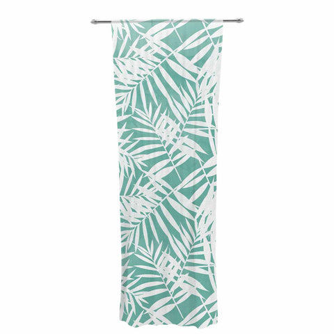 "Cafelab ""Water Tropicana Theme"" Teal White Illustration Decorative Sheer Curtain"