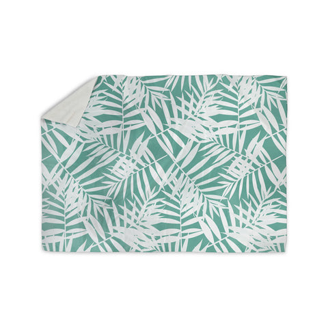 "Cafelab ""Water Tropicana Theme"" Teal White Illustration Sherpa Blanket"