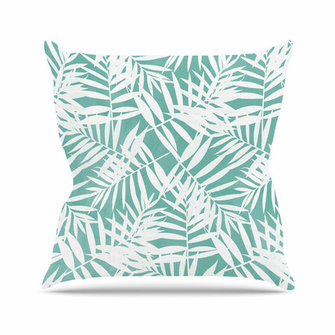 "Cafelab ""Water Tropicana Theme"" Teal White Illustration Outdoor Throw Pillow"