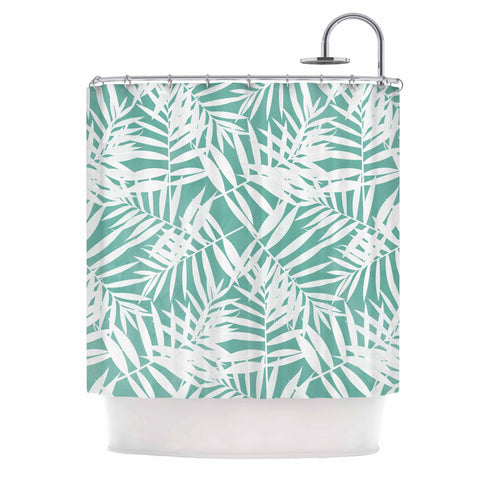 "Cafelab ""Water Tropicana Theme"" Teal White Illustration Shower Curtain"