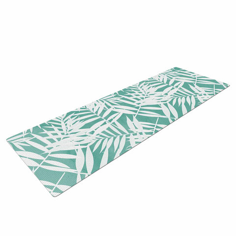 "Cafelab ""Water Tropicana Theme"" Teal White Illustration Yoga Mat"