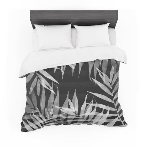 "Cafelab ""BW Tropicana Theme"" Black White Illustration Featherweight Duvet Cover"