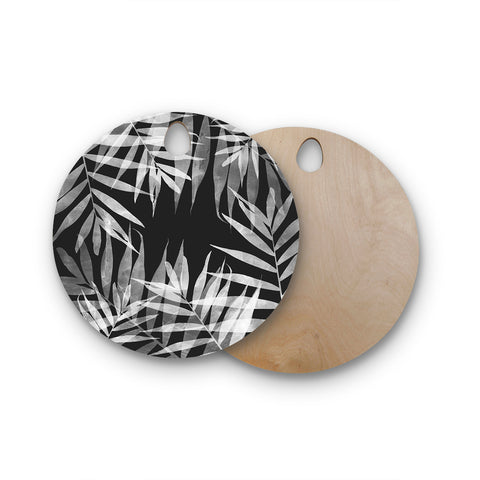 "Cafelab ""BW Tropicana Theme"" Black White Illustration Round Wooden Cutting Board"