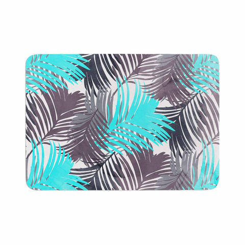 "Cafelab ""Jungle Pattern"" Blue Teal Mixed Media Memory Foam Bath Mat"